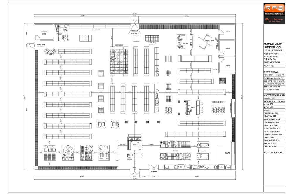 Building layout showing building size and fixture placement.