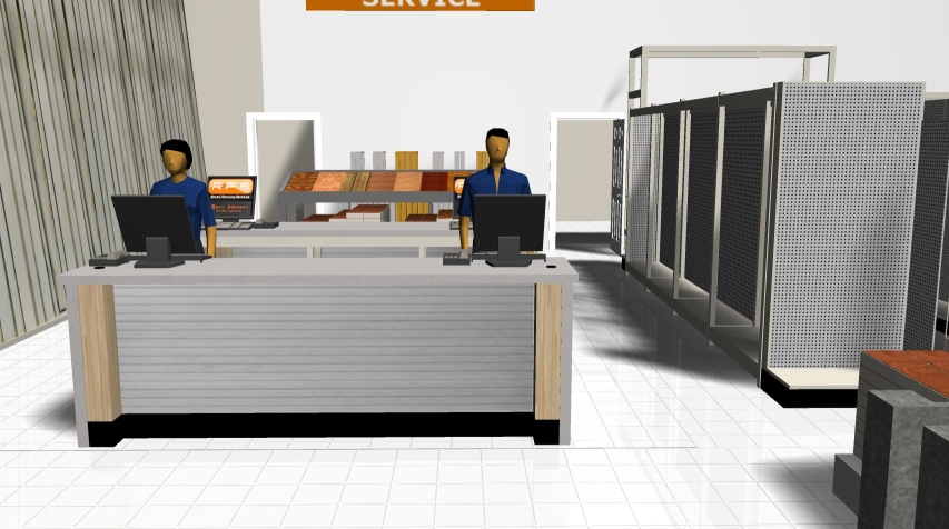 3D service counter showing customer POV.