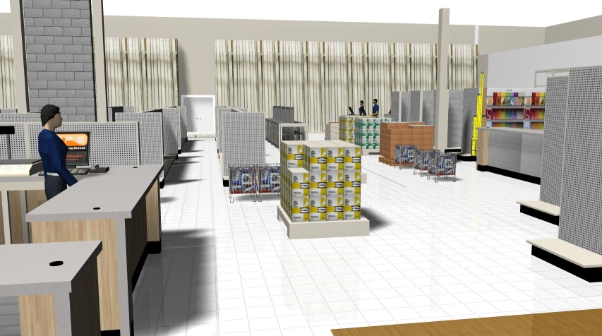 3D customer POV from entrance showing cash, paint and service counters.