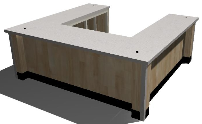 3-D standard u-shaped counter. This design works well for service and double sided cash counters.
