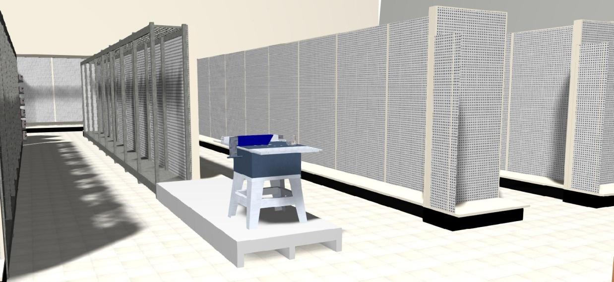 3D gondola and MRS shelving, display platform and profit panels.