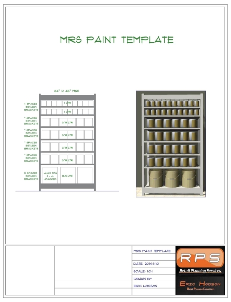 Paint wall planogram detail using MRS style racking.