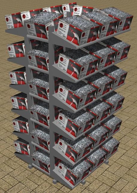 3-D cut box nail rack.